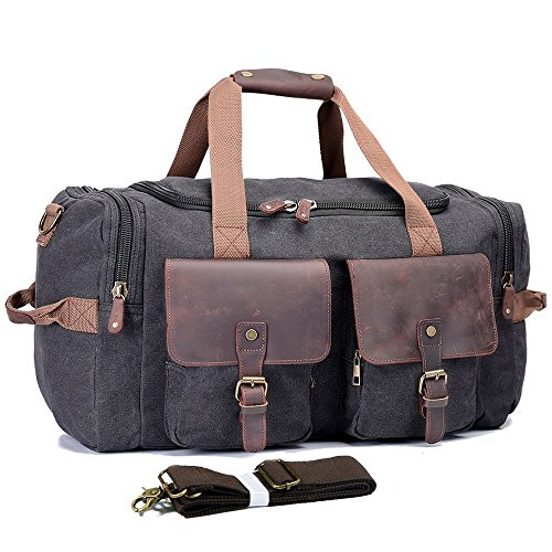 Cheap UNISACK Leather Canvas Duffle Bag Weekend Overnight Bag Travel Tote Duffel Luggage,Black