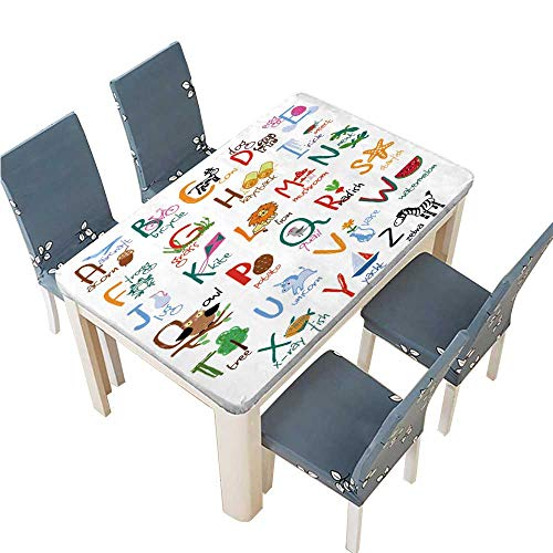 PINAFORE Decorative Tablecloth Hand Drawn Alphabet with Words and Icons Vector Kids ABC Assorted Size W61 x L100 INCH (Elastic Edge) -