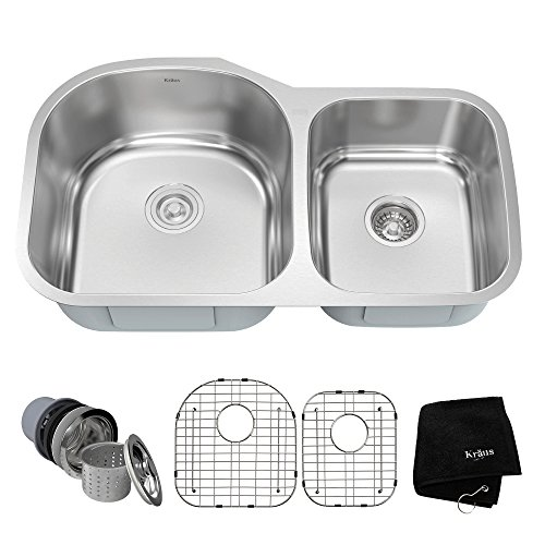 Kraus KBU27 35 inch Undermount 60/40 Double Bowl 16 gauge Stainless Steel Kitchen Sink