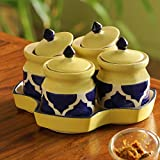 ExclusiveLane 'Pickles-Fours' Handpainted Ceramic Pickle & Chutney Jars (Set Of 4) - Pickle Holder For Table Kitchen Dining Table Pickle Jar Ceramic With Lids Indian Pickle Jar Sets For Dining Table