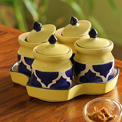 ExclusiveLane 'Pickles-Fours' Handpainted Ceramic Pickle & Chutney Jars (Set of 4) - Pickle Holder for Table Kitchen Dining Table Pickle Jar Ceramic with Lids Indian Pickle Jar Sets for Dining ()