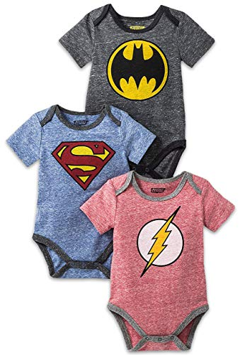 Happy Threads Baby Boys 3 Pack DC Comics Super Heroes Short Sleeve Bodysuite Multi 12 Months]()
