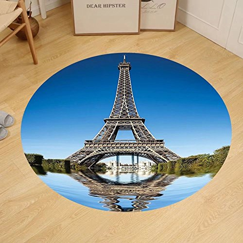 Gzhihine Custom round floor mat Paris Eiffel Tower Reflected on Water Picture and Bushes River City Reflection Effect Living Room Dorm Blue Green and - Photo Effect Reflection