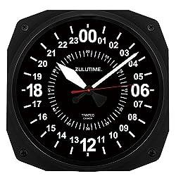 Trintec 24 Hour Square Military Time SWL Zulu Time 24Hr Wall Clock 10 Black Dial Ham Shack