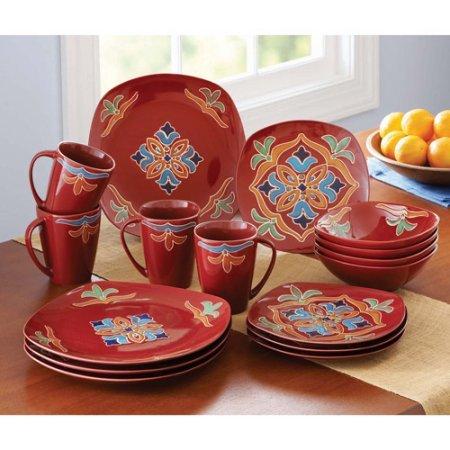 16-Piece Medallion Square Dinnerware Set, Red