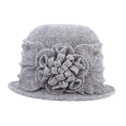 Prefe 1920s Gatsby Womens Flower 100% Wool Warm Beanie Bow Hat Cap Crushable (Grey, Free)