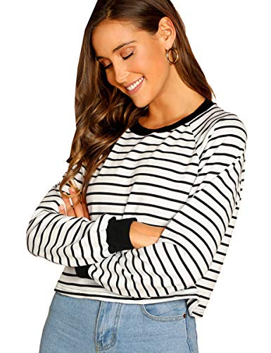 Romwe Women's Striped Long Sleeve Pullover Crop Sweatshirt Top Black XS