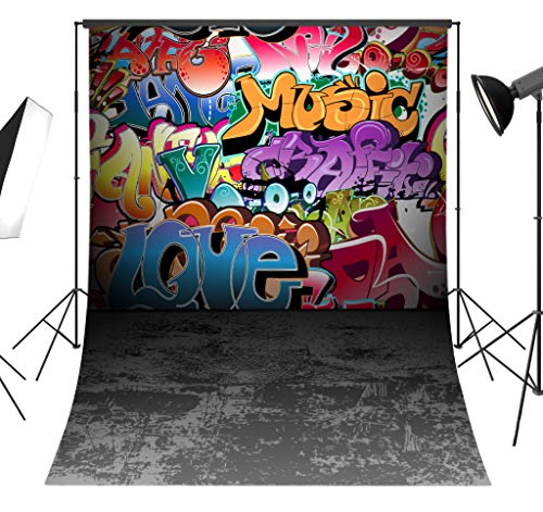 LB Graffiti Hip Hop Backdrop for Photography 80s 90s Party Decoration 5x7ft Portrait Photo Background with Floor Retro Fashion Studio Prop Vinyl Customized TY111 -