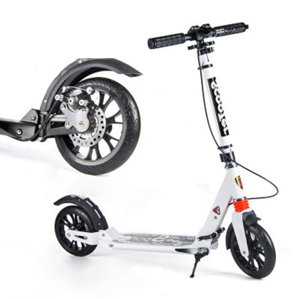 キックスクーター ディスクブレーキ付き大人用キックスクーター、大きな車輪付きの折りたたみ式通勤スクーター、大人/ 10代/子供向けの誕生日プレゼント、最大150kg、非電気 (色 : ブラック) B07QPFJ7HC 白 白