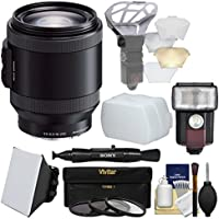 Sony Alpha E-Mount 18-200mm f/3.5-6.3 OSS PZ Zoom Lens with Flash + Soft Box + Bouncer + 3 Filters Kit for A7, A7R, A7S Mark II, A5100, A6000, A6300
