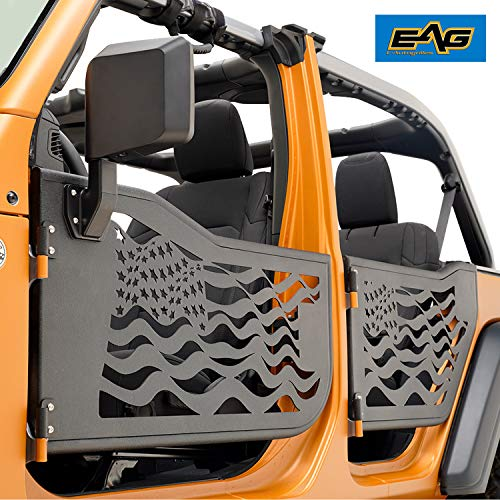 EAG US Flag Tubular Door with Side View Mirror Fit for 18-19 Jeep Wrangler JL 4 Door Only