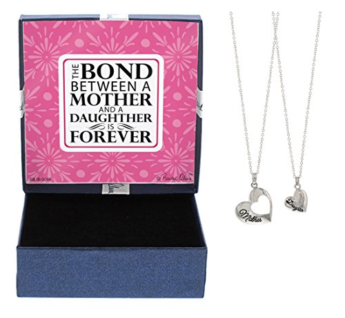 Mother's Day Gifts Mother Daughter Jewelry Silver-Tone Heart Pendant 2-piece Necklace Set Mother Daughter Bond Forever Jewelry Box Mother Daughter Necklace Set Mother's Day Gifts for Mom and (Mom Daughter Jewelry)
