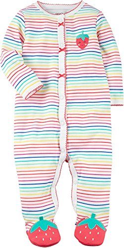 Carter's Baby Girls' Multi Striped Strawberry Sleep and Play 6 Months