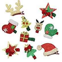 QtGirl 10pcs Christmas Toddler Baby Kids Girls Hairpins Christmas Party Hair Clips