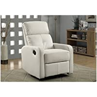 Monarch Bonded Leather Swivel Glider Recliner, White