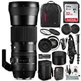 Sigma 150-600mm f/5-6.3 DG OS HSM Contemporary Lens for Nikon F with USB Dock, 32GB Card, Xpix Camera Cleaning Kit, Deluxe Bundle
