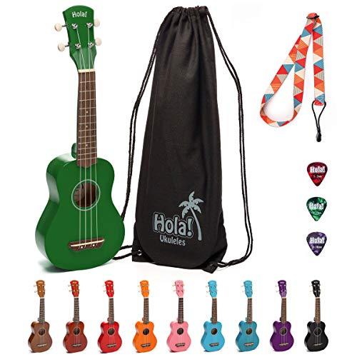 Hola! Music HM-21GN Soprano Ukulele Bundle with Canvas Tote Bag, Strap and Picks, Color Series, Green (Girls Guitar Picks Rock)