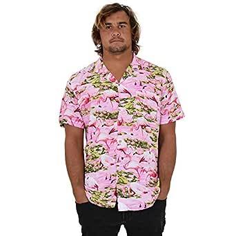 Island Style Clothing Mens Hawaiian Shirts Flamingo Floral Tropical Party Prints (Small, Pink Flamingo)