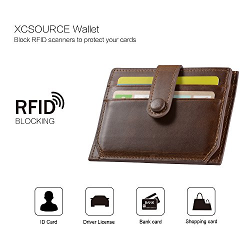 XCSOURCE Slim Wallet RFID Front Pocket Leather Purse 7 Cards Cash Case Holder with Zip Coin Pocket (Brown) for Men Women