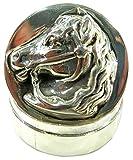 Authentic 925 Silver Head Horse Bridle Pill Box Snuff Box