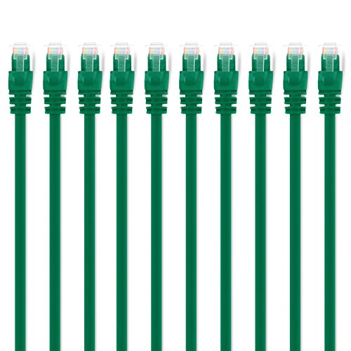 GearIT 10 Pack, Cat 6 Ethernet Cable Cat6 Snagless Patch 15 Feet - Computer LAN Network Cord, Green - Compatible with 10 Port Switch POE 10port Gigabit