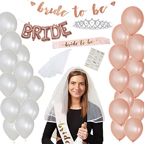 Rose Gold Bachelorette Party Decorations Kit - Perfect for Bachelorette or Bridal Party - 47 PCS Kit Includes Bride-to-be Sash and Banner, Tiara, Veil, Tattoos, 24 Balloons, andBride Foil Balloons