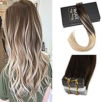 Sunny 22inch Skin Weft Tape Hair Extensions Balayage Dark Brown Fading to  Golden Blonde Highlight