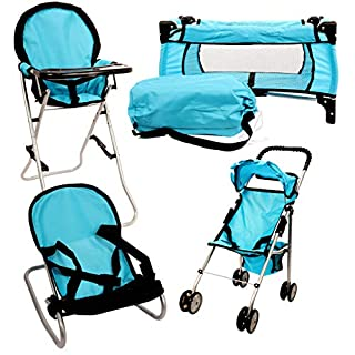 Mommy & Me 4 in 1 Doll Play Set Fits 18'' Dolls. (HOT Blue)
