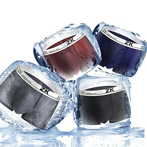 ZK ZukuLife Mens Ice Silk Boxer Mesh Brief (Pack of 4 - ()