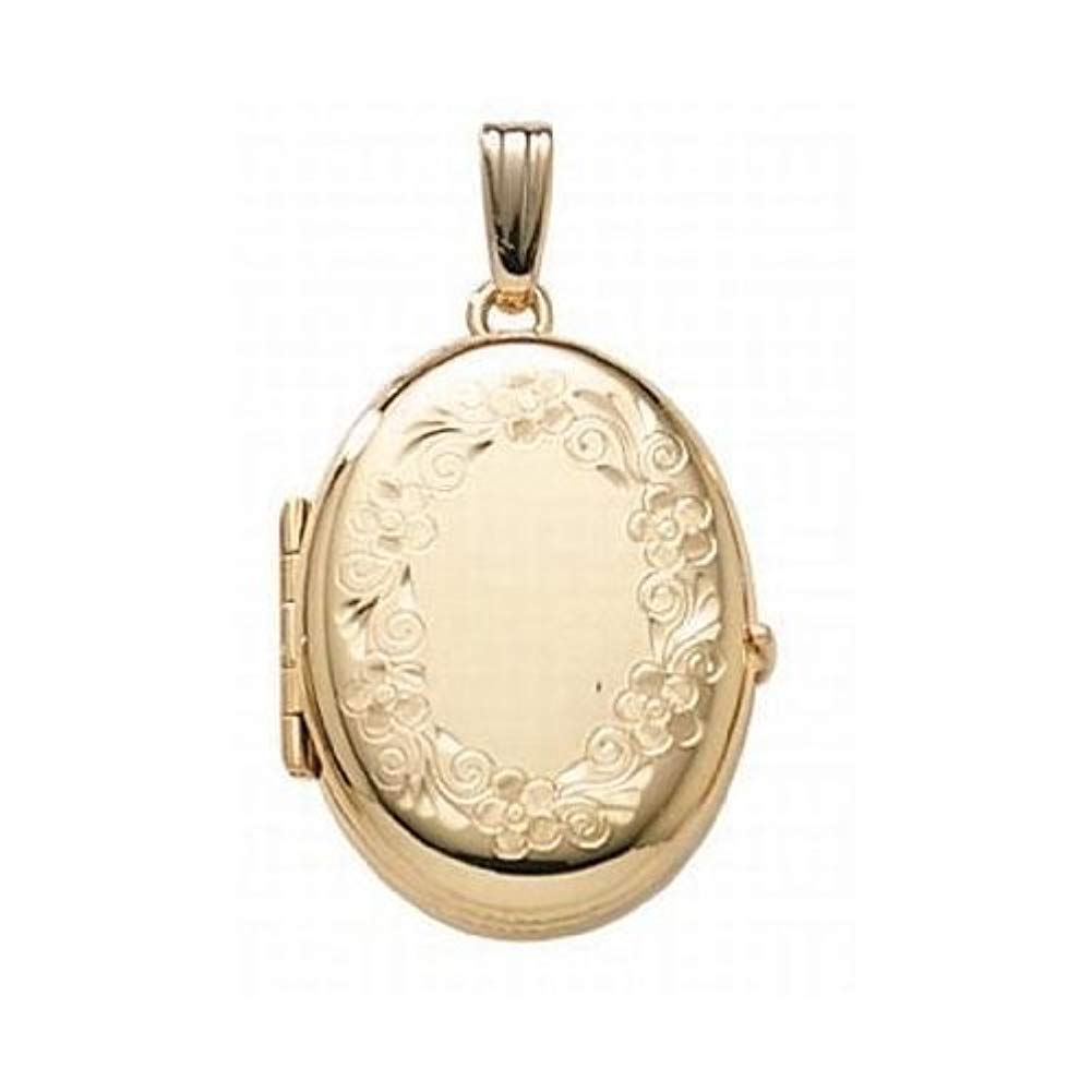 PicturesOnGold.com 14K Gold Filled 4-Page Photo Oval Locket - 3/4 Inch X 1 Inch by PicturesOnGold.com