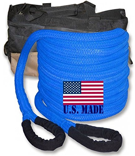 "U.S. made ""SAFETY BLUE"" Safe-T-Line Kinetic Snatch ROPE – 1 inch X 30 ft with Heavy-Duty Carry Bag (4X4 VEHICLE RECOVERY)"