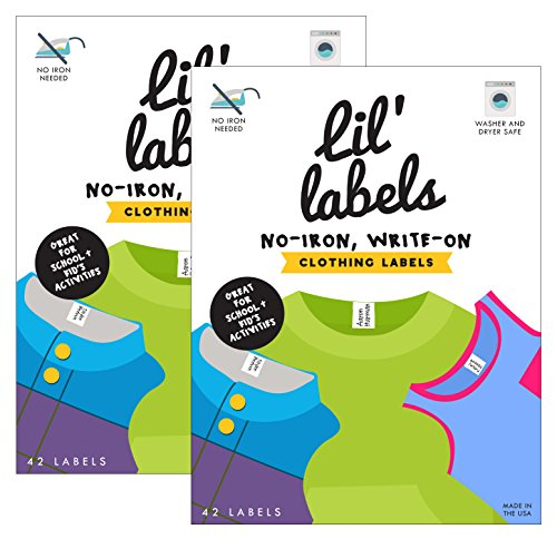 Personalized Adhesive Labels - Lil' Labels Clothing, Write on Name, No Iron, Washer & Dryer Safe, Kids for Daycare & School, Plus 2 Bonus Gifts, Set Of 2