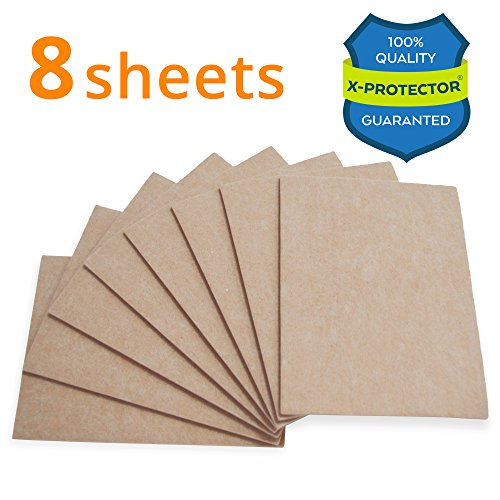 "X-PROTECTOR 8 Pack Premium Felt Furniture Pads 8""x6"" HEAVY DUTY 1/5"" Felt Sheets! Cut Furniture Felt Pads for Furniture Feet You Need – Best Furniture Pads For Hardwood Floors Protection!"