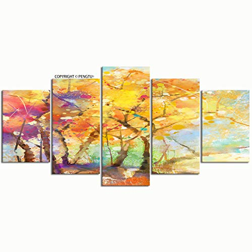 PENGTU Paintings Modern Canvas Painting Wall Art Pictures 5 Pieces Watercolor Painting Colorful Landscape semi Abstract Wall Decor HD Printed Posters Frame ()