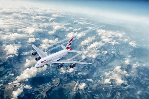 Posterlounge Acrylic print 60 x 40 cm: BA Airbus A380 by airpowerart