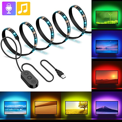 MINGER TV LED Strip Lights 6.56ft, 5050 LED TV Backlight Strip, USB Music TV Backlighting Built-in MIC, Changing Color Strip Kit, Bias Monitor Lighting, Waterproof Bias Lighting for HDTV Desktop PC