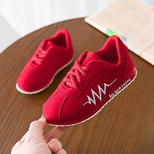 DingLong Babyschuhe,Kinder Solid EKG Brief Leder Sneaker Running Schuhe Rot