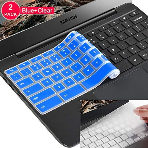 [2 Pack]Samsung chromebook 4 keyboard cover skin for Samsung Chromebook 11.6/15.6 inch Chromebook 2 XE500C12, Chromebook 3 XE500C13,Chromebook Plus V2 2-in-1 XE520QAB 12.2(Clear and Blue)