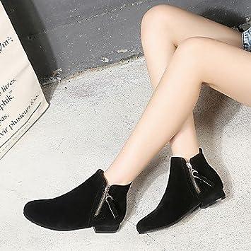 RTRY Zapatos De Mujer Polipiel Moda Otoño Invierno Botas Botas De Tacón Bajo Ronda Toe Botines