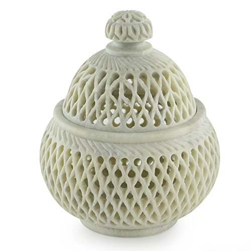 Lattice Vase (NOVICA Decorative Soapstone Jali Jar White, 'Lattice Lace')