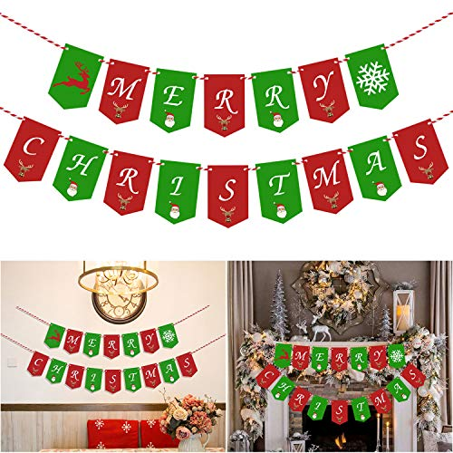 Merry Christmas Banner Decoration - Christmas Party Bunting Pennant Garland Banner for New Year Party, Christmas, Holiday Decor, Winter Season Greeting, Home Mantel Fireplace Sign Garland Photo Props]()