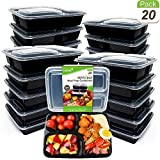 Upgraded [20 Pack] Meal Prep Containers 3 Compartments CooFood Thicker Lunch Bento Box in Compartments with Lid Reusable Anti-Spill Food Storage Container for Microwave Dishwasher Freezer 34 Oz