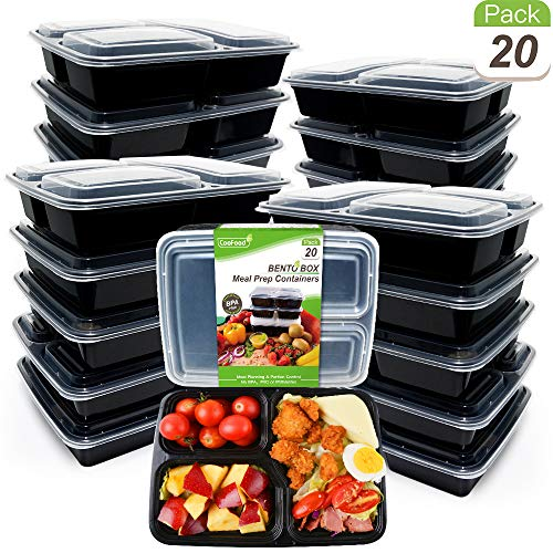 Upgraded [20 Pack] Reusable Meal Prep Containers 3 Compartment 34 Oz CooFood Thicker Lunch Bento Box 3 Compartments with Lids Anti-Spill Food Storage Container for Microwave Dishwasher Freezer (Trays Tv Dinner Target)