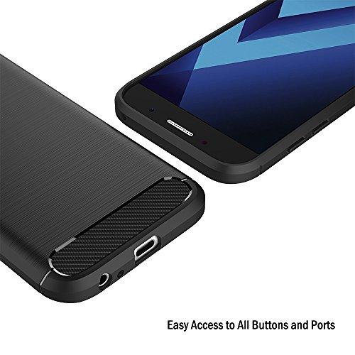 Funda Samsung Galaxy A5 2017, AICEK Negro Silicona Fundas para Galaxy A5 2017 Carcasa A520 (5,2 Pulgadas) Fibra de Carbono Funda Case Negro