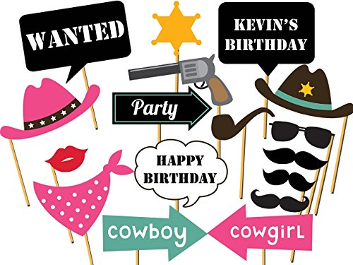 Custom Cowboy Photo booth props - Size 36x24, Personalized Western party, cowgirl, rodeo Photo Booth Props, Wild west Birthday Props, Party Decorations, Handmade DIY Party Supply Photo Booth Props ()