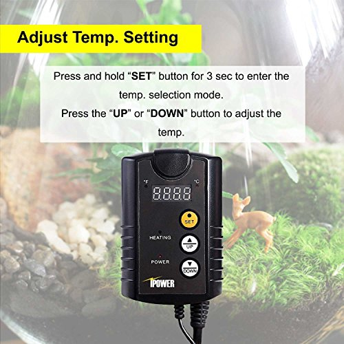 iPower 40-108°F Digital Heat Mat Thermostat Controller for Seed Germination, Reptiles and Brewing