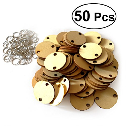 WINOMO 50pcs Round Wooden Slices With 50 Iron Loops Set For Birthday Reminder Hanging Wooden Plaque Board DIY Calendar Accessories Home Decoration (Burlywood) (Wood Plaque Board)