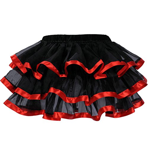Jupe Rouge rose bleu Jupes Tutu satin noir Femmes jupe en avec 3 bord tulle blanc rouge couches aOd7qw