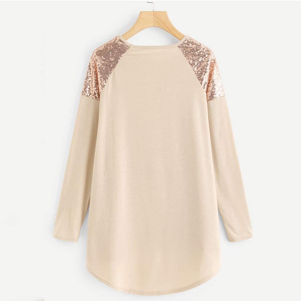 Womens Sequin Top Blouse Long Sleeve Round Neck Loose Tunic Shirt