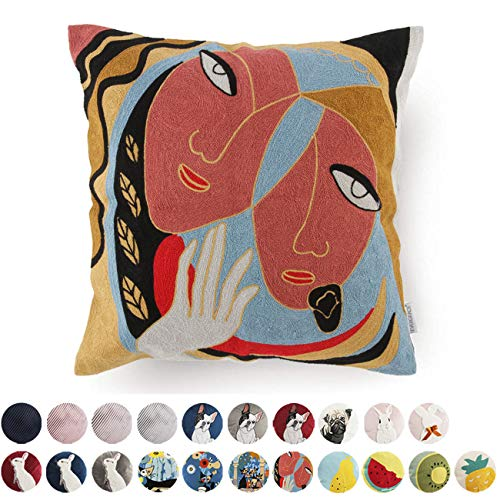 Abstract Embroidery Throw Pillow Cases Decorative Square Canvas Pillow Cover Cartoon Pattern Cushion Cover for Home 18x18 Inch ()